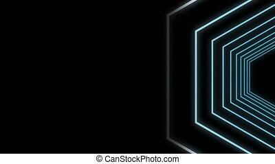 Geometric shapes on black background