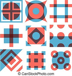 Geometric shapes patterns set