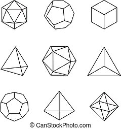 Geometric Shapes - Platonic Solids - set of 9 geometric...