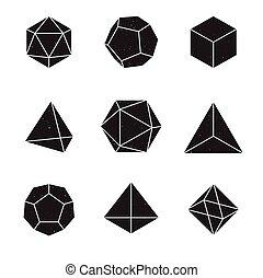 Geometric Shapes - Platonic Solids - set of 9 geometric ...