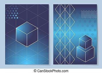 Geometric Shapes Posters Set Vector Illustration