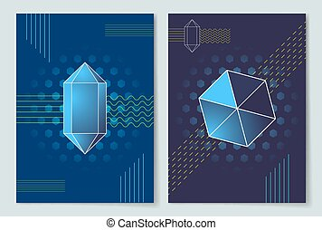 Geometric Shapes Posters Set Vector Illustration