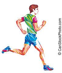 Geometric Shapes Pro Runner Colorful Illustration. Running ...