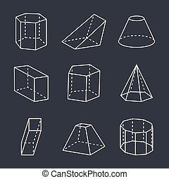 Geometric Shapes Set on Black Vector Illustration