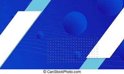 Geometric shapes, stripes and blue balls moving over blue background