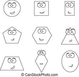 geometric shapes with funny faces vector