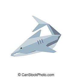 geometric shark on white background