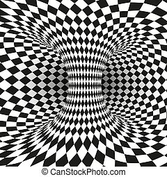 Geometric Square Black and White Optical Illusion. Abstract Wormhole Tunnel. Abstract design frame of wormhole. Distort of space and time. Vector illustration