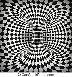 Geometric Square Black and White Optical Illusion. Abstract Wormhole Tunnel. Distort of space and time. Vector illustration