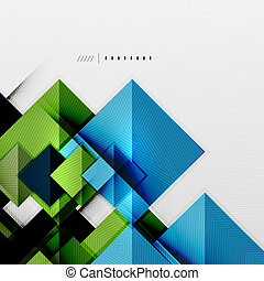 Geometric squares and rhombus futuristic template - colorful...