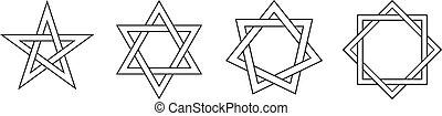 Geometric Star Figures Black - Pentagram, hexagram,...