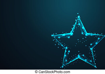 geometric star shape, Abstract wire low poly, Polygonal wire frame mesh looks like constellation on dark blue night sky with dots and stars, illustration and background