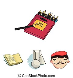 Geometric still life, a self-portrait of the artist, a notebook with drawings, a box of colored pencils.Artist and drawing set collection icons in cartoon style vector symbol stock illustration web.