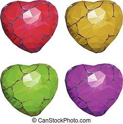 Geometric Stone Hearts