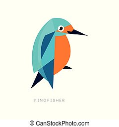 Geometric symbol of kingfisher. Brightly colored bird with long beak. Icon in flat style. Abstract vector design for business logo, environmental placard or print