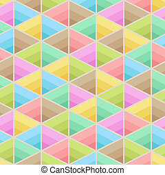 Geometric Symmetric Seamless Pattern of Light Pastel Triangles of Blue, Brown, Green, Mint, Red, Pink, Yellow Colors.
