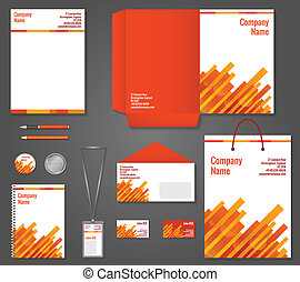 Geometric technology business stationery template - Red and...