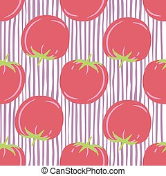 Geometric tomato seamless pattern for fabric design. Red tomatoes background.
