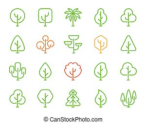 Forest trees line icons with simple geometric shapes EPS Vector