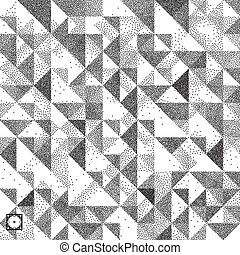 Geometric triangles background. Mosaic. Black and white...