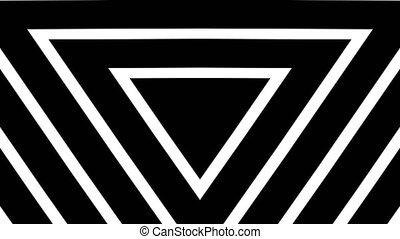 """Geometric triangles background pattern made from black and white bar. Eternity and deep. Seamless loop."""