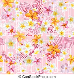 Geometric Tropical Flowers and Leaves Background - Vintage Seamless Pattern - in vector