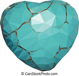 Geometric Turquoise Heart - Low poly heart of turquoise ...