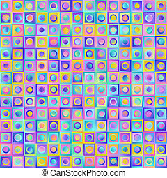 Geometric Universal Abstract Colorful Gradient Seamless Pattern of Pastel Square and Circles.