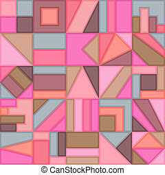 Geometric Universal Graphic Seamless Pattern of Beige, Brown, Coral, Pink, Grey, Simple Shapes. Minimal Style.