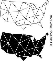 Geometric USA map, vector