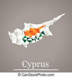 Geometric vector map of  Cyprus