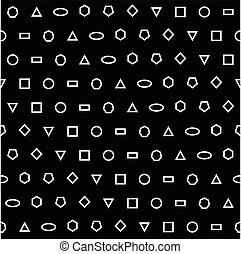 Geometric vector seamless black and white pattern.