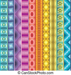 Geometric vector various strips motifs in different color....