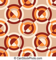 Geometric vintage 60s or 70s style seamless pattern. Orange ...