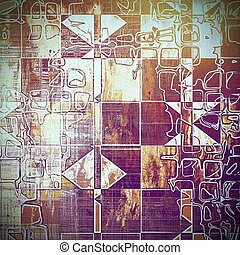 Geometric vintage background in scrap-booking style, faded grunge texture with different color patterns: yellow (beige); brown; red (orange); purple (violet); white; pink