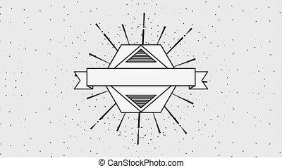 geometric vintage frame label