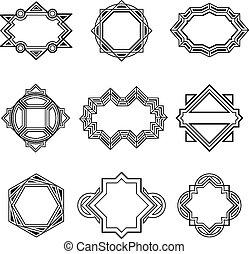 Geometric vintage label frames