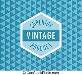 Geometric vintage label on seamless vintage geometric pattern background
