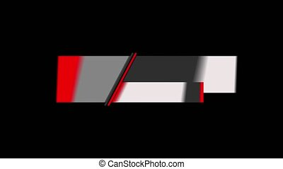 Geometric white gray red title video intro template lower third on black background. Suitable for advertising or presentations, television news production and social network. Alpha channel