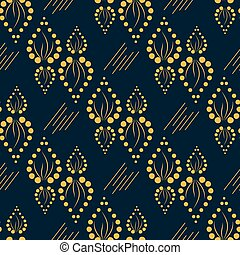 Geometric yellow pattern with ornament leaves from around