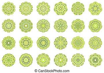 Geometrical abstract floral mandala symbol set