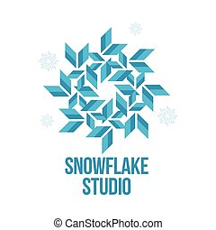 geometrical abstract snowflake vector logo templates - blue...