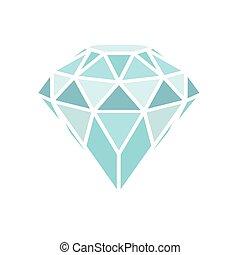 Geometrical blue diamond isolated on white background.
