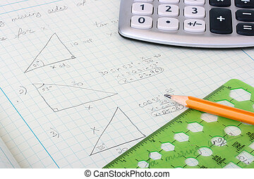 Geometrical calculations and constructions taking into account corners and other sizes in a writing-book of the student.