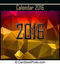 Geometrical cover of calendar of New Year 2016 illustration