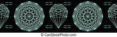 Geometrical crystal mandala. Seamless repeating vector border.