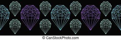 Geometrical crystal shape. Seamless repeating vector border