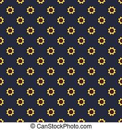 Geometrical decorative sunflower seamless pattern vector