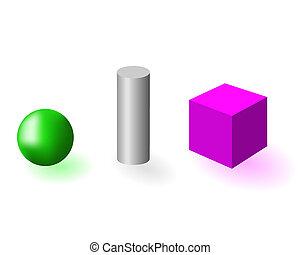 Geometrical figure - Three geometrical figures on a white...