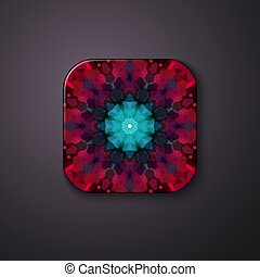 Geometrical floral pattern on a square button.